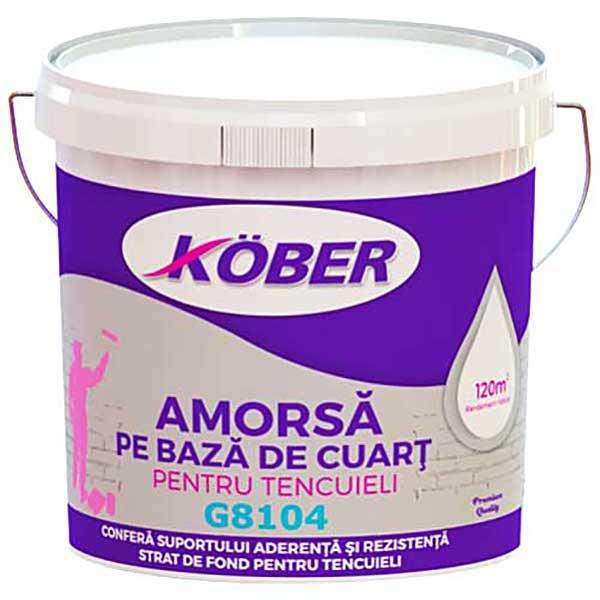 Amorsa pentru tencuieli Kober G8104este un grund amorsă albă pentru tencuieli, ce conferă suprafeţei aderenţă şi rezistenţă datorită nisipului de cuarţ.