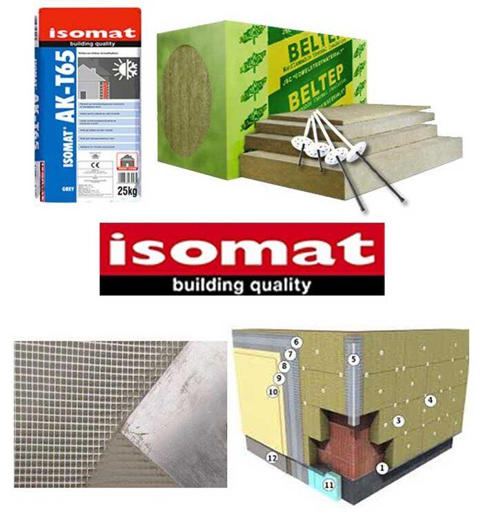 Sistem vata minerala bazaltica ISOMAT pentru izolarea termica a peretilor exteriori cu termosistem pe baza de vata minerala bazaltica.