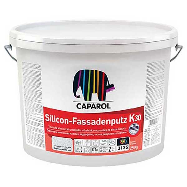 Tencuiala decorativa Caparol SiliconFassadenputz K si R este o tencuiala siliconica structurabila, hidrofoba, cu capacitate de difuzie ridicata.