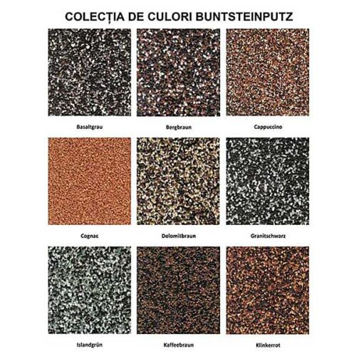 paletar culori tencuiala mozaicata pentru soclu Caparol Buntsteinputzeste o tencuiala de soclu din piatra naturala pe baza de dispersie de rasini pentru exterior.