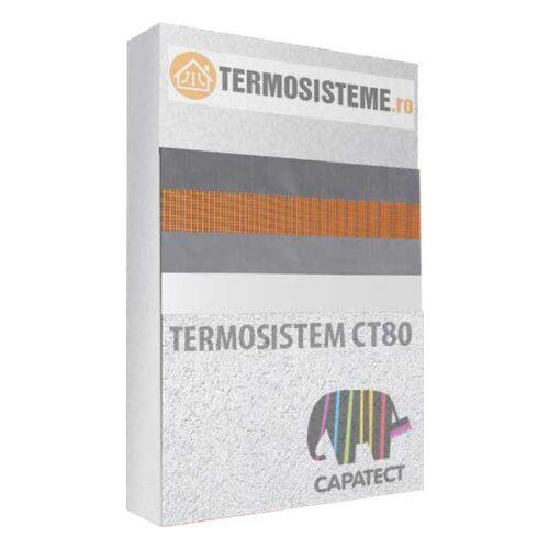 Termosistem fatada CT80 Caparol 10cmeste un sitem de izolare termica a fatadei alcatuit din polistiren Caparol CT80 cu grosimea de 10cm.
