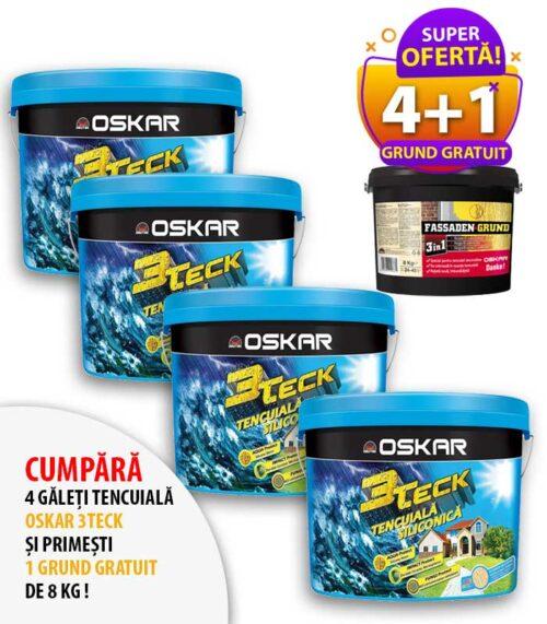PROMO tencuiala decorativa Oskar 3Teck: cumpara 4 galeti de tencuiala si primesti GRATUIT 1 galeata de grund de 8kg! Finisaje interioare si exterioare.